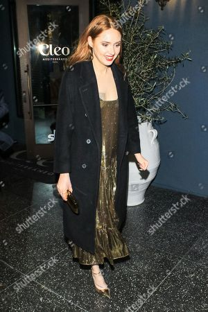Stock Image of Karen Gillan outside Cleo Restaurant in West Hollywood