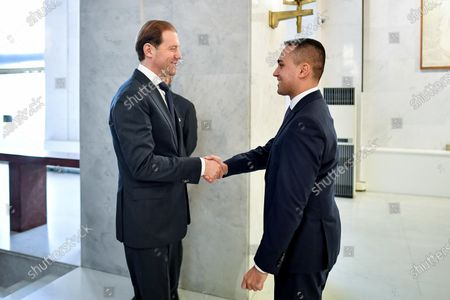 Italian Foreign Minister Luigi Di Maio (R) welcome the Russian Industry and Trade Minister Denis Manturov (L), during a meeting at Farnesina palace, Rome, Italy, 14 February 2020.