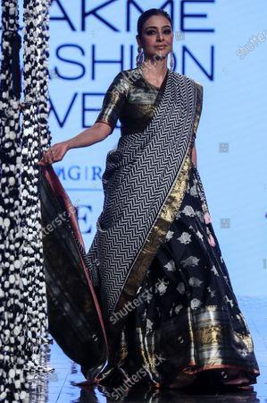 Bollywood actress Tabu presents a creation by Indian designer Gaurang during the Lakme Fashion Week (LFW) Summer/Resort 2020 in Mumbai, India, 14 February 2020.