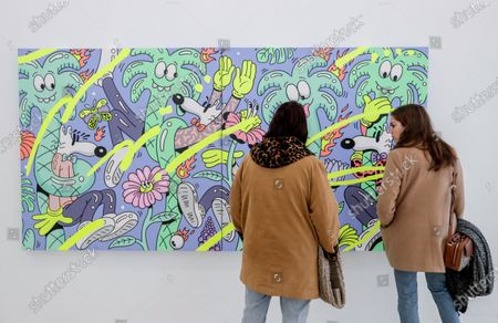 Stock Image of Visitors look at artworks by US artist Steven Harrington as part of the exhibition 'ZOO' at the MIMA Museum in Molenbeek, Brussels, Belgium, 14 February 2020. The exhibition runs until 20 August 2020.