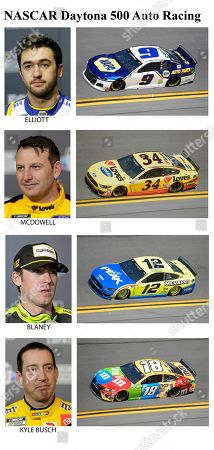 These photos taken in February 2020 show drivers in the starting lineup for Sunday's NASCAR Daytona 500 auto race in Daytona Beach, Fla. From top are Chase Elliott, 25th position, Michael McDowell, 26th position; Ryan Blaney, 27th position and Kyle Busch, 28th position
