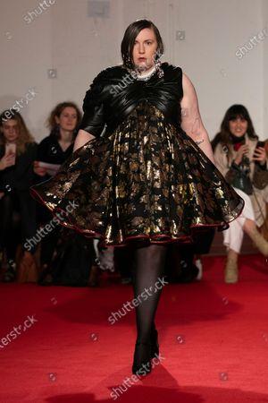 US actress Lena Dunham presents a creation during the 16Arlington show at London Fashion Week in London, Britain, 14 February 2020.