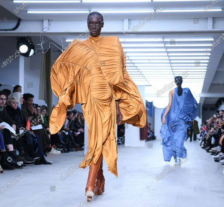 A model presents a creation by Richard Malone during Womens London Fashion Week Autumn Winter collection in London, Britain, 14 February 2020.