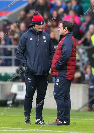 Will Carling (R) with England Coach John Mitchell