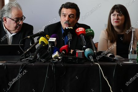Stock Image of Edwy Plenel (C), editor of Mediapart, an independent French online investigative and opinion journal, and representative member of International Consortium of Investigative Journalists (ICIJ), talks to journalists during the press conference themed 'Rui Pinto - FootballLeaks and LuandaLeaks whistleblower', in Lisbon, Portugal, 14 February 2020. Portuguese hacker Rui Pinto who's waiting for his trial due to his involvement in Football Leaks, recently came forward to say he is also behind the release of Luanda Leaks documents.