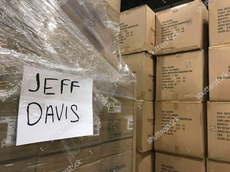 A box of voting equipment in a metro Atlanta, warehouse awaits delivery, to Jeff Davis County in Georgia. State officials say they faced a challenge in delivering the brand new machines to Georgia's 159 counties in time for upcoming elections