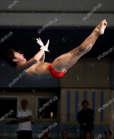 Stock Picture of David Dinsmore of US in action during the men's springboard finals in the framework of the FINA Diving Grand Prix Madrid 2020 at M86 swimming pools in Madrid, Spain, 14 February 2020.