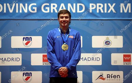 David Dinsmore of US poses on the podium after winning the men's springboard finals during the FINA Diving Grand Prix Madrid 2020 at M86 swimming pools in Madrid, Spain, 14 February 2020.