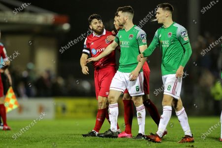 Cork City vs Shelbourne. Tempers flare between Shelbourne's Gary Deegan and Cork City's Gearoid Morrissey after the final whistle