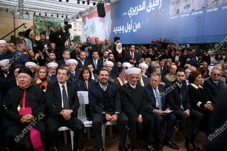 Former Lebanese Prime Minister Saad Hariri (C), Lebanese MP Elie Al Ferzly (L), Grand Mufti Sheikh Abdel-Latif Derian (3-R), former Prime minister Fouad Seniora (2-R) and Taymour Jumblat attend a mass rally to mark the 15th anniversary of the assassination of his father late former Prime Minister Rafic Hariri, at his home, in downtown Beirut, Lebanon 14 February 2020. On Valentine's Day 2005, a massive bomb detonated in front of St. George's hotel in Beirut, meters away from a convoy that was carrying the late former prime minister Rafic Hariri. The explosion killing Hariri along with 21 others and injuring countless bystanders many of whom sustained lasting physical and psychological wounds.