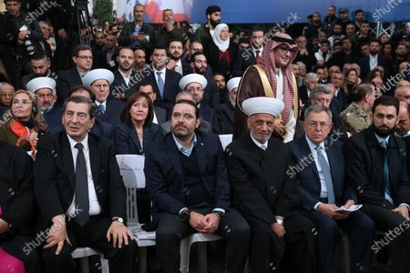 Former Lebanese Prime Minister Saad Hariri ,Lebanese MP Elie Al Ferzly (L), Grand Mufti Sheikh Abdel-Latif Derian (3-R), former Prime minister Fouad Seniora (2-R) and Taymour Jumblat during a mass rally to mark the 15th anniversary of the assassination of his father late former Prime Minister Rafic Hariri, at his home, in downtown Beirut, Lebanon, 14 February 2020. On Valentine's Day 2005, a massive bomb detonated in front of St. George's hotel in Beirut, meters away from a convoy that was carrying the late former prime minister Rafic Hariri. The explosion killing Hariri along with 21 others and injuring countless bystanders many of whom sustained lasting physical and psychological wounds.