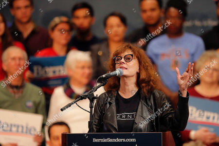Actress Susan Sarandon addresses the crowd before Democratic presidential candidate, Sen. Bernie Sanders, I-Vt., speaks at a campaign event in Durham, N.C