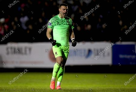 St. Patrick's Athletic vs Waterford. Waterford goalkeeper Brian Murphy celebrates his side's first goal of the game