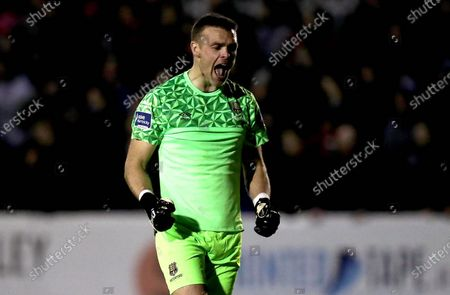Stock Picture of St. Patrick's Athletic vs Waterford. Waterford goalkeeper Brian Murphy celebrates his side's first goal of the game