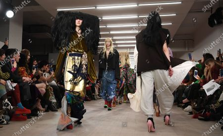 Models present creations by Matty Bovan during London Fashion Week, in London, Britain, 14 February 2020. The Women's Autumn-Winter 2020/2021 collections are presented at the LFW until 18 February 2020.
