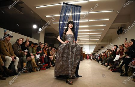 A model presents a creation by Matty Bovan during London Fashion Week, in London, Britain, 14 February 2020. The Women's Autumn-Winter 2020/2021 collections are presented at the LFW until 18 February 2020.