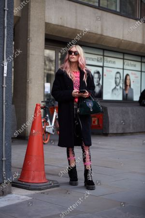Editorial image of Street Style, Fall Winter 2020, London Fashion Week, UK - 14 Feb 2020
