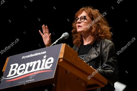Actress Susan Sarandon speaks at a campaign rally for Democratic presidential candidate U.S. Sen. Bernie Sanders, I-Vt., in Charlotte, N.C
