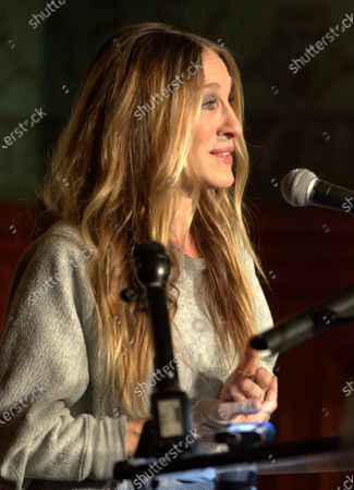 US actress Sarah Jessica Parker gestures while talking about her role in the Neil Simon play, 'Plaza Suite,' during a ceremony to unveil two plaques in honor of Simon at the Emerson Colonial Theater in Boston, Massachusetts, USA, 14 February 2020. Parker and her husband Matthew Broderick are currently starring in the Simon play 'Plaza Suite,' at The Emerson Colonial Theater, where Simon often debuted his plays, before opening on Broadway in March of this year.