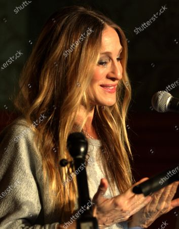 Stock Picture of US actress Sarah Jessica Parker talks about her role in the Neil Simon play, 'Plaza Suite,' during a ceremony to unveil two plaques in honor of Simon at the Emerson Colonial Theater in Boston, Massachusetts, USA, 14 February 2020. Parker and her husband Matthew Broderick are currently starring in the Simon play 'Plaza Suite,' at The Emerson Colonial Theater, where Simon often debuted his plays, before opening on Broadway in March of this year.