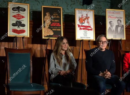 Stock Image of US Actors Matthew Broderick (R) and Sarah Jessica Parker (L) sit in front of posters of plays by Neil Simon, during an unveiling ceremony in honor of Simon, at the Emerson Colonial Theater in Boston, Massachusetts, USA, 14 February 2020. Broderick and Parker are currently starring in the Simon play 'Plaza Suite,' at The Emerson Colonial Theater, where Simon often debuted his plays, before opening on Broadway in March of this year.