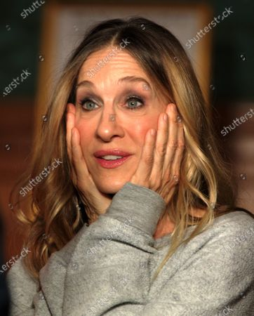 Stock Photo of US actress Sarah Jessica Parker gestures while talking about her role in the Neil Simon play, 'Plaza Suite,' during a ceremony to unveil two plaques in honor of Simon at the Emerson Colonial Theater in Boston, Massachusetts, USA, 14 February 2020. Parker and her husband Matthew Broderick are currently starring in the Simon play 'Plaza Suite,' at The Emerson Colonial Theater, where Simon often debuted his plays, before opening on Broadway in March of this year.