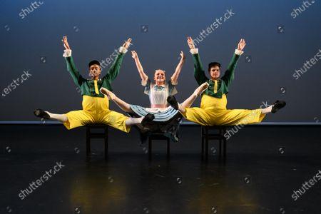 Elmhurst Ballet Company, the graduate company from Elmhurst Ballet School, perform in the dress rehearsal of 'Synergy' at the Lilian Baylis Studio, Sadler's Wells. The piece shown is: Tweedledum and Tweedledee, choreographed by Sir Frederick Ashton. The dancers are: Jennifer Beattie (Alice), Joshua Dart and Jakob Myers (Tweedledum and Tweedledee).