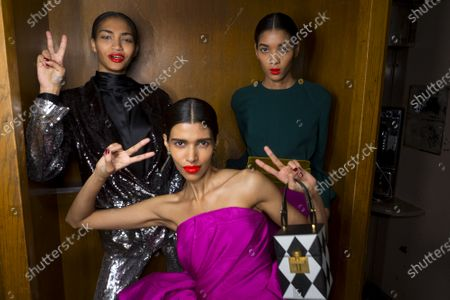 Stock Image of Pooja Mor and models backstage