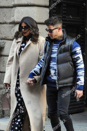 Editorial photo of Nick Jonas and Priyanka Chopra out and about, Milan, Italy - 14 Feb 2020