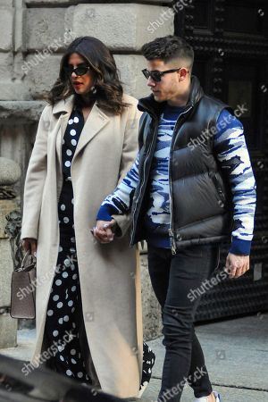Editorial image of Nick Jonas and Priyanka Chopra out and about, Milan, Italy - 14 Feb 2020