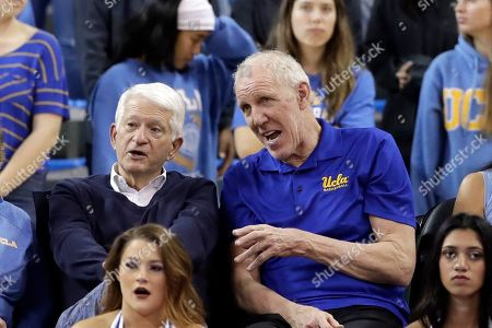 Bill Walton, Gen Block. Former UCLA basketball player Bill Walton, right, talks to UCLA Chancellor Gene Block during the second half of an NCAA college basketball game between UCLA and Oregon, in Los Angeles