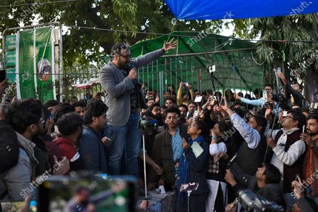 Bollywood director Anurag Kashyap addresses the gathering during a sit-in protest against Citizenship Amendment Act