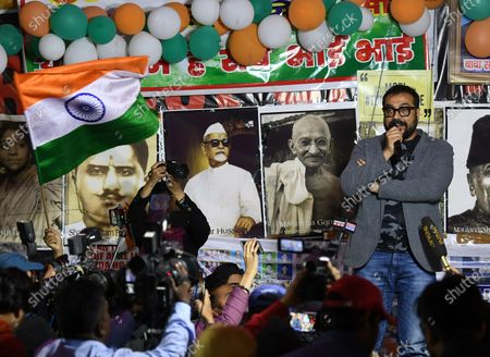 Bollywood director Anurag Kashyap addresses the gathering during ongoing protests against CAA, NRC and NPR