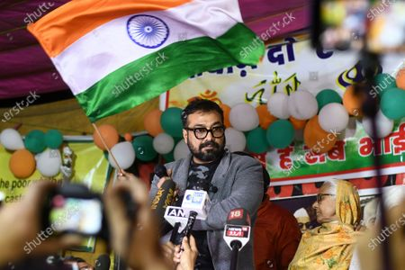 Stock Picture of Bollywood director Anurag Kashyap addresses the gathering during ongoing protests against CAA, NRC and NPR