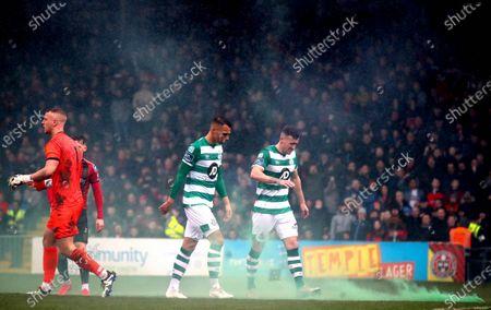 Bohemians vs Shamrock Rovers. Shamrock Rovers' Aaron Greene and Graham Burke
