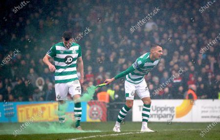 Stock Picture of Bohemians vs Shamrock Rovers. Shamrock Rovers' Aaron Greene and Graham Burke