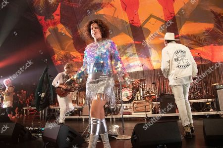 Stock Picture of Regine Chassagne of Arcade Fire performs at the Krewe du Kanaval Mardi Gras Ball at Mahalia Jackson Theater for the Performing Arts, in New Orleans