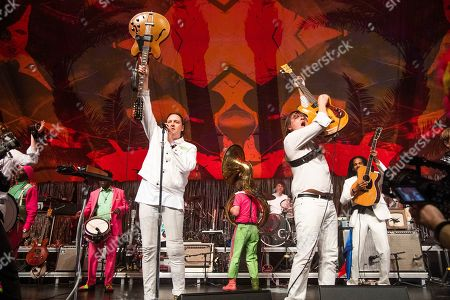 Stock Photo of Win Butler, William Butler. Win Butler, left, and William Butler of Arcade Fire perform at the Krewe du Kanaval Mardi Gras Ball at Mahalia Jackson Theater for the Performing Arts, in New Orleans