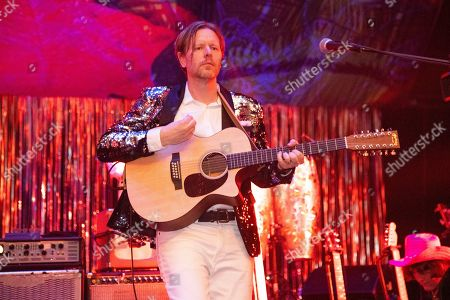 Tim Kingsbury of Arcade Fire performs at the Krewe du Kanaval Mardi Gras Ball at Mahalia Jackson Theater for the Performing Arts, in New Orleans