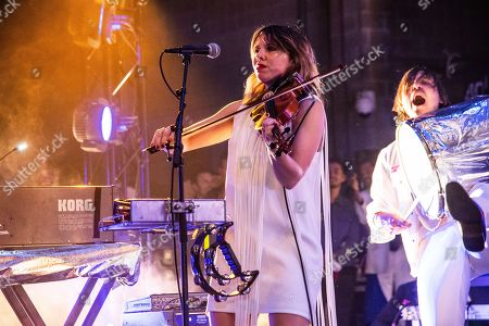 Stock Picture of Sarah Neufeld of Arcade Fire performs at the Krewe du Kanaval Mardi Gras Ball at Mahalia Jackson Theater for the Performing Arts, in New Orleans