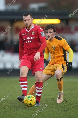 Jordan Clark of Hornchurch and James O'Halloran of Merstham during Hornchurch vs Merstham, BetVictor League Premier Division Football at Hornchurch Stadium on 15th February 2020