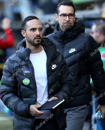 Hertha's head coach Alexander Nouri (L) and Hertha's general manager Michael Preetz (R) look on before the German Bundesliga soccer match between SC Paderborn and Hertha BSC Berlin in Paderborn, Germany, 15 February 2020.