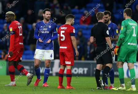 Sean Morrison of Cardiff City goal in the final seconds of the game is disallowed by referee John Brooks for a foul on keeper David Marshall of Wigan.