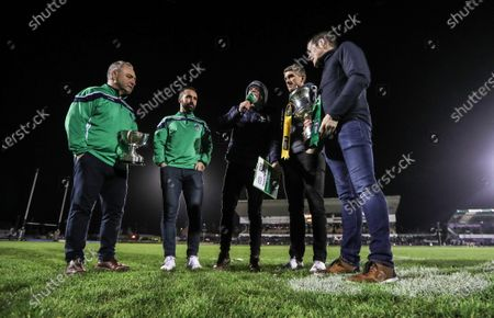 Stock Photo of Connacht vs Cardiff Blues. Oughterard captain Eddie O'Sullivan and manager Tommy Finnerty with Corofin's Kieran Fitzgerald and manager Kevin O'Brien