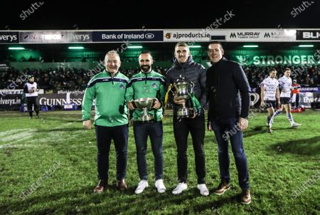 Stock Picture of Connacht vs Cardiff Blues. Oughterard captain Eddie O'Sullivan and manager Tommy Finnerty with Corofin's Kieran Fitzgerald and manager Kevin O'Brien