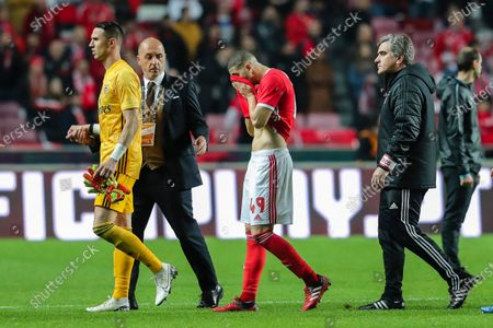 Benfica`s Adel Taarabt (2R) reacts after their Portuguese First League soccer match against Braga held at Luz Stadium, Lisbon, Portugal, 15th February 2020.