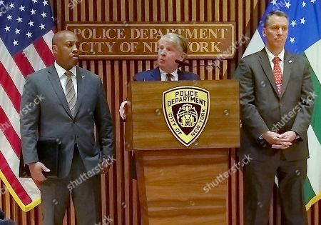 Rodney Harrison, Cyrus Vance, Jr., Dermot Shea. Manhattan District Attorney Cyrus Vance, Jr., briefs the media on the arrest of a 14-year-old male in the Dec.2019 murder of Barnard College student Tessa Majors, in New York. Majors, 18, was stabbed as she walked through New York City's Morningside Park early in the evening of Dec. 11. At left is NYPD Chief of Detectives Rodney Harrison and at right in New York City Police Commissioner Dermot Shea