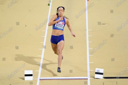 Katarina Johnson-Thompson came 4th in the women's long jump during the Muller Indoor Grand Prix at the Emirates Arena in Glasgow, Scotland
