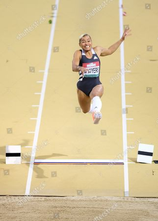 Jazmin Sawyers (Great Britain) came 3rd in the women's lo during the Muller Indoor Grand Prix at the Emirates Arena in Glasgow, Scotland