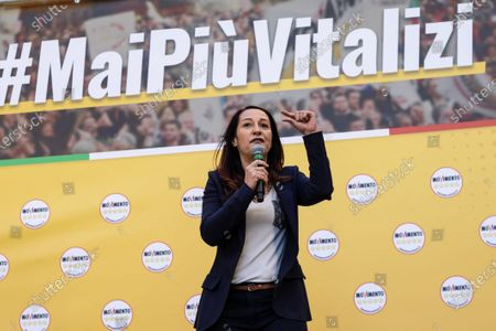 Stock Picture of Vice President of the Italian Senate Paola Taverna speaks during the demonstration. A national demonstration called by the 5-star movement (M5S) to defend a recent law that cut parliamentary pensions took place in Rome.